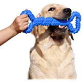 LECHONG Durable Dog Chew Toys 13 Inch Bone Shape Extra Large Dog Toys with Convex Design Strong Tug Toy for Aggressive Chewers Medium and Large Dogs Tooth Cleaning (Blue)