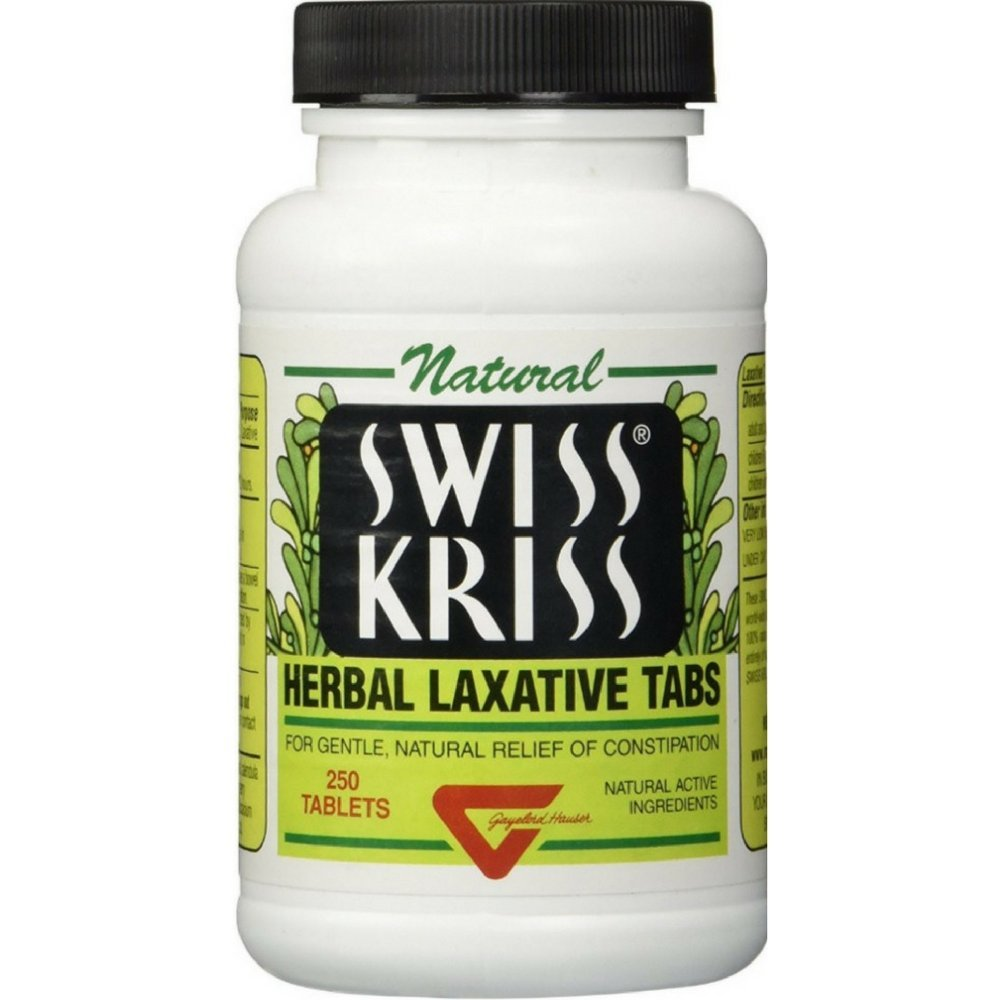 Swiss Kriss Herbal Laxative Tablets, 250 Count (Pack of 12) by Swiss Kriss