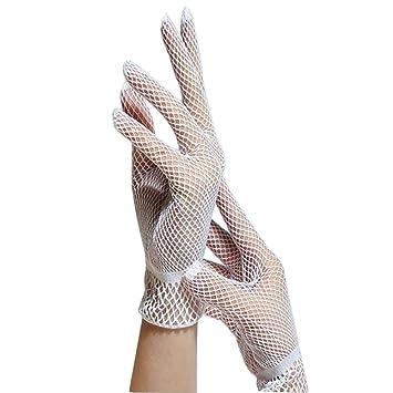 Lubier 1/Paar Damen Fischnetz Handschuhe kurz Vintage Hochzeit Handschuhe Kleid F/äustlinge Damen Full Finger Bridal Handschuhe Hohl Sommer Sonnenschutz Kurze Handgelenk L/änge Schwarz und Wei/ß Schwarz