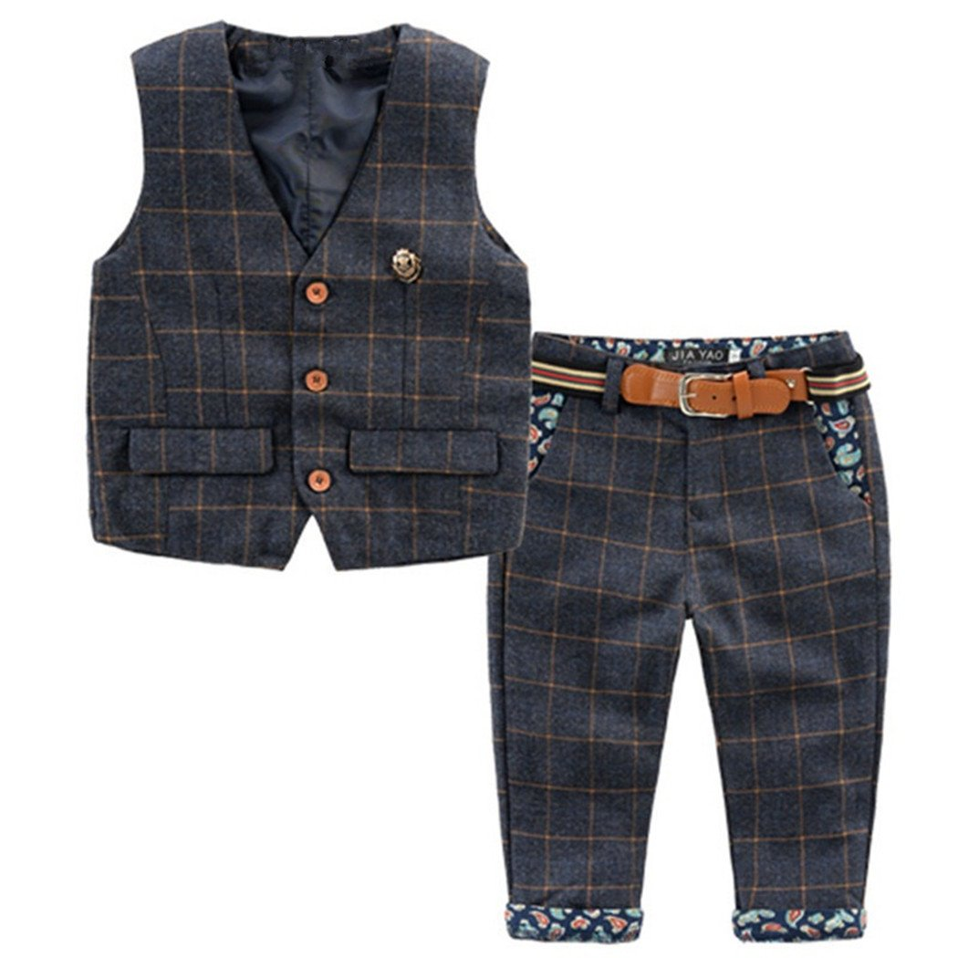 Baby Vintage Style and Wedding Tuxedo Waistcoat Outfit Suit (1-2T, Dark Blue) by TAOJIAN