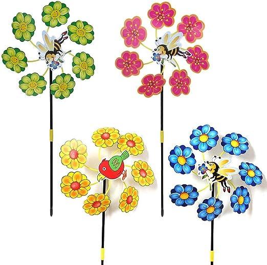 Uteruik Molinillo de Viento Juguete para niños al Aire Libre Jardín Decoración Plantas Color al Azar, 1 Pieza, Der#2: Amazon.es: Hogar