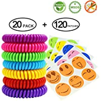 Mosquito Bands and Patches, 20Pack All Natural DEET FREE Waterproof Mosquito Repellent Bracelet Wristbands and 120 Mosquito Repelling Stickers, Keep Away Insects & Bugs, Safe for Kids, Pregnant