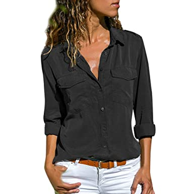 36aef4d2960b Women s Plain Roll Sleeve Shirt Office Ladies Casual Blouses Tops (Black