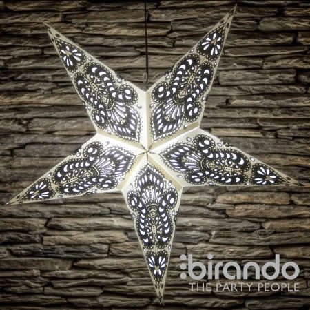 Wish Stars (1 Pack, Wish Star - Ganesha White Black) (Paper Star Lantern)