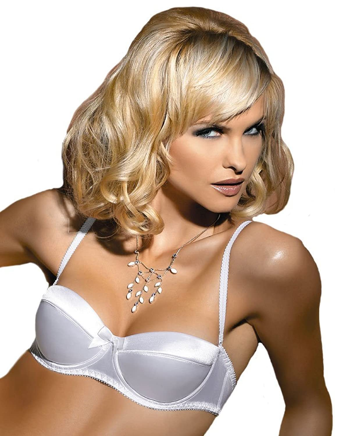 Stunning Satin Look Balconette Bra With A Central Bust Bow - 30A - In White