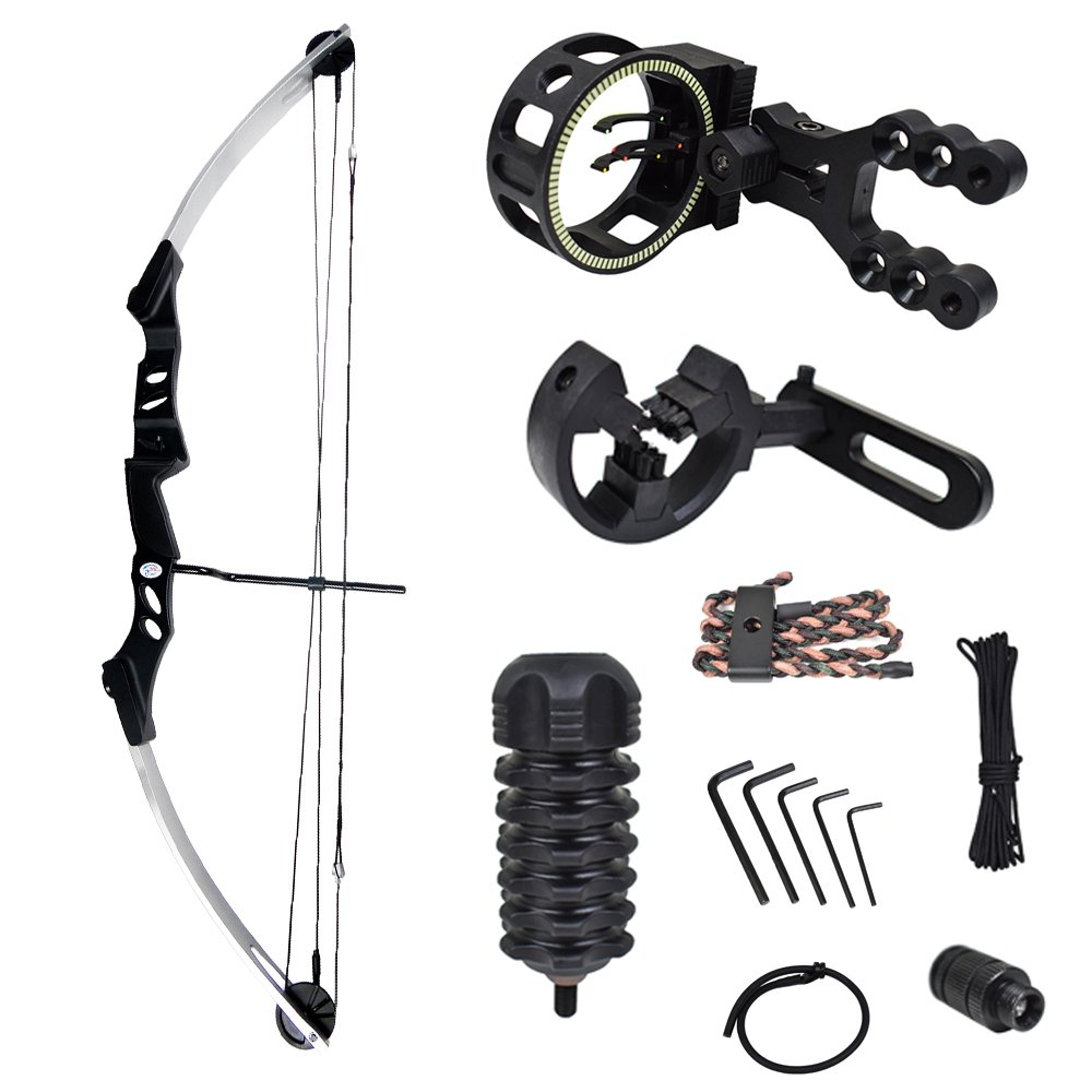 iGlow 55 lb Silver Archery Hunting Compound Bow with Premium Kit 175 150 80 50 40 lbs Crossbow by iGlow