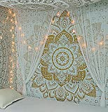 """indian room decor New Launched Popular Handicrafts Kp643 The Passion Gold Ombre Tapestry Indian Mandala Wall Art, Hippie Wall Hanging, Bohemian Bedspread 84""""x90""""(215x230cms)"""
