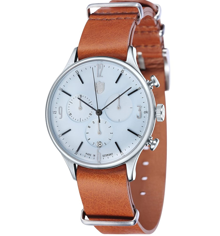 Dufa Deutsche Uhrenfabrik Unisex-Armbanduhr Chronograph Quarz Leder Van Der Rohe Chrono DF-9002-07