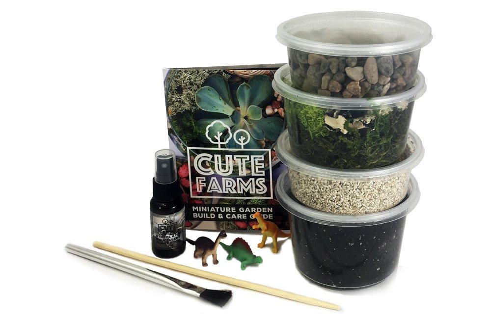 Cute Farms Terrarium Starter Kit | Moss, Vermiculite, Soil, Pebbles, Plant Food & Finishing Tools (Medium Kit) by Cute Farms (Image #1)