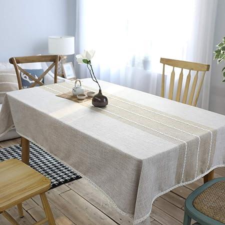 CFWL - Mantel de algodón de Color Liso, Simple a Rayas, Mantel Blanco para Fiesta, Mantel de cumpleaños, Blanco, Elegante algodón: Amazon.es: Hogar