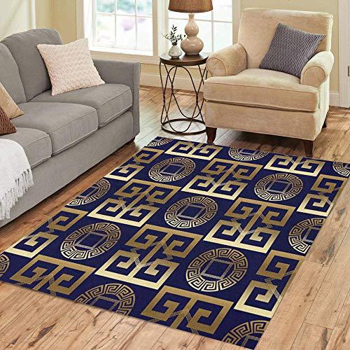 Square Gold Greek Design (Pinbeam Area Rug Modern Abstract Geometric Antique Gold 3D Vintage Greek Home Decor Floor Rug 5' x 7' Carpet)
