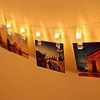 Gledto 20 LED Guirlande-Clip Lumineuse Blanc chaud 220cm Strip lights à piles Décoration Romantique pour chambre maision jardin pelouse fêtes Noël