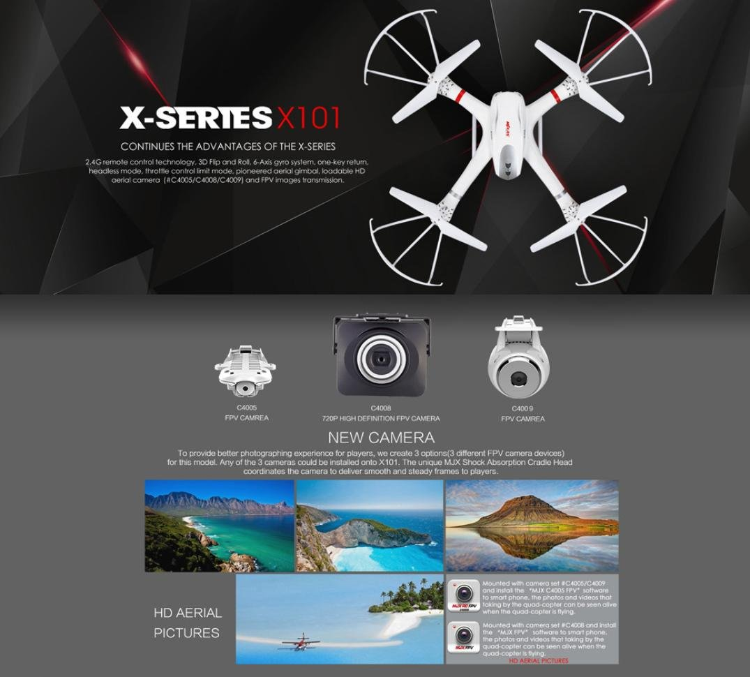 Malloom® MJX X101 2.4G 3D Roll FPV Wifi Quadcopter Drone ...