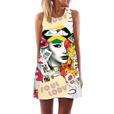 BCVHGD Summer Women Casual Boho Beach Short Dress Girls Floral Printed Mini Vestidos Robe Femme S