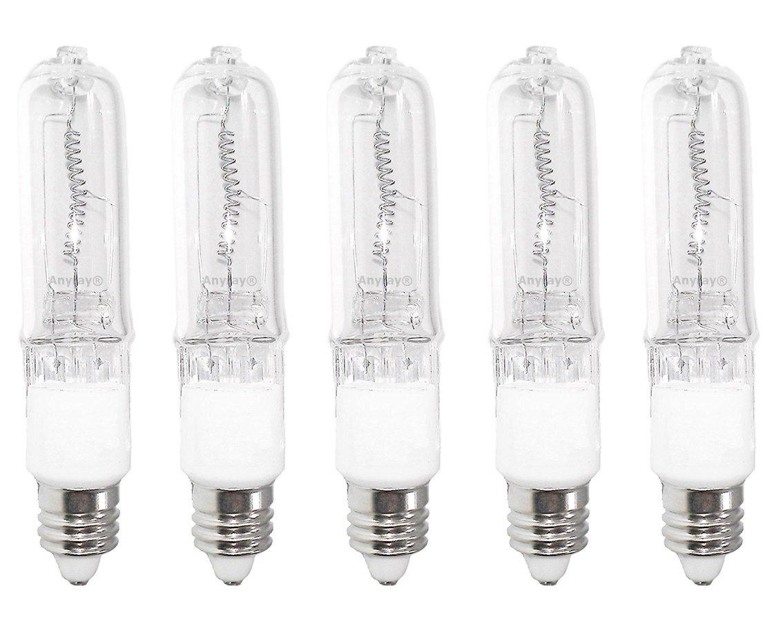 Anyray A1808Y (5)-Pack JD 250 Watt E11 250W Mini-Candelabra T4 Halogen Light Bulb, CLEAR 250Watts, Bulbs