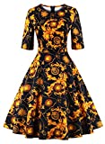 Ezcosplay Women Vintage 1950s Mid Sleeve Floral Print Party Cocktail Swing Dress