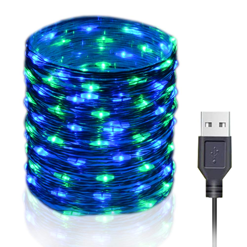 HAHOME 33Ft 100 LEDs USB Plug in Fairy String Lights for Wedding Christmas Party Decoration, Blue+Green