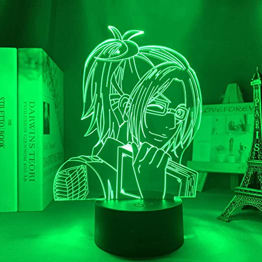 3D Illusion Lamp Anime Attack on Titan Hange Zoe Lamp for Home Decor Birthday Gift Manga Attack on Titan LED Night Lamp Hange Zoe Lamp led Night Light for Kids 7 Color Touch