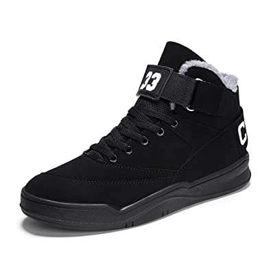 8d2f2c0f7b7 FZUU Men's Fashion High Top Leather Street Sneakers Sports Casual Shoes  (7.5, Black-
