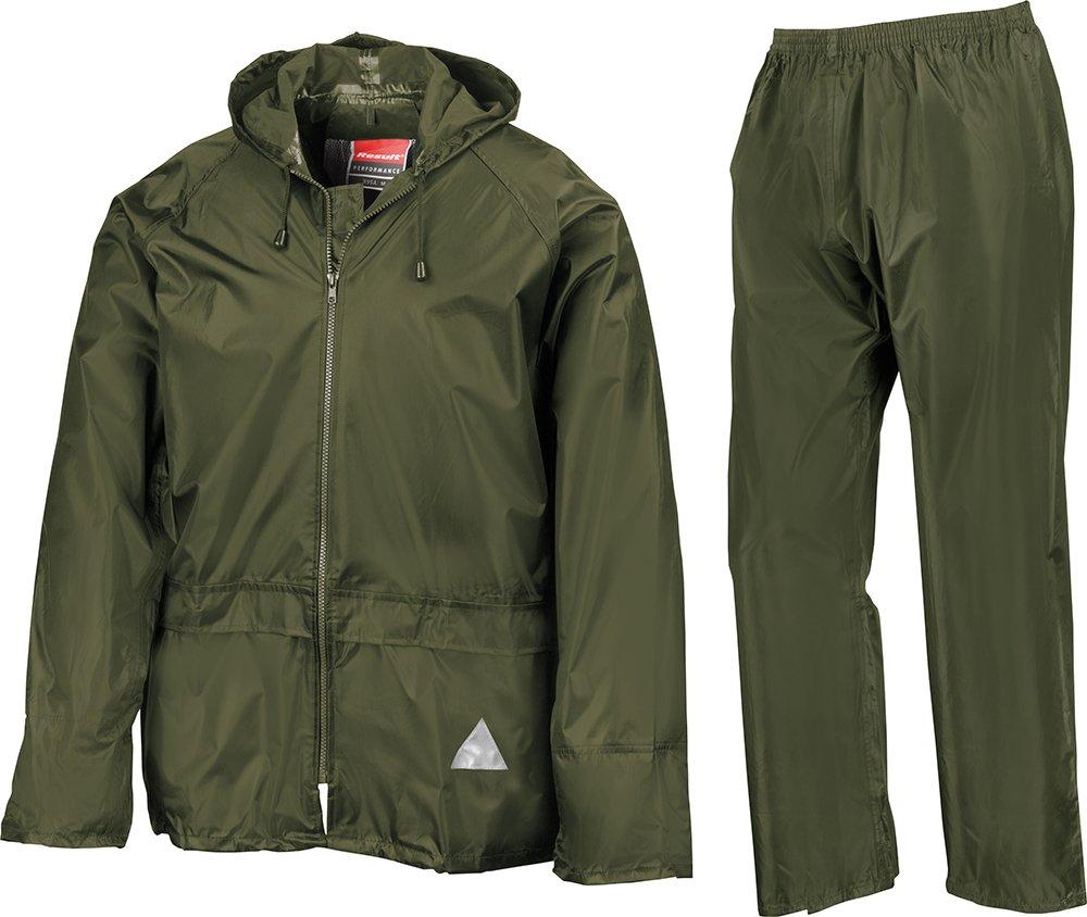 Result Mens Heavyweight Waterproof Rain Suit (Jacket & Trouser Suit) (XL) (Olive)