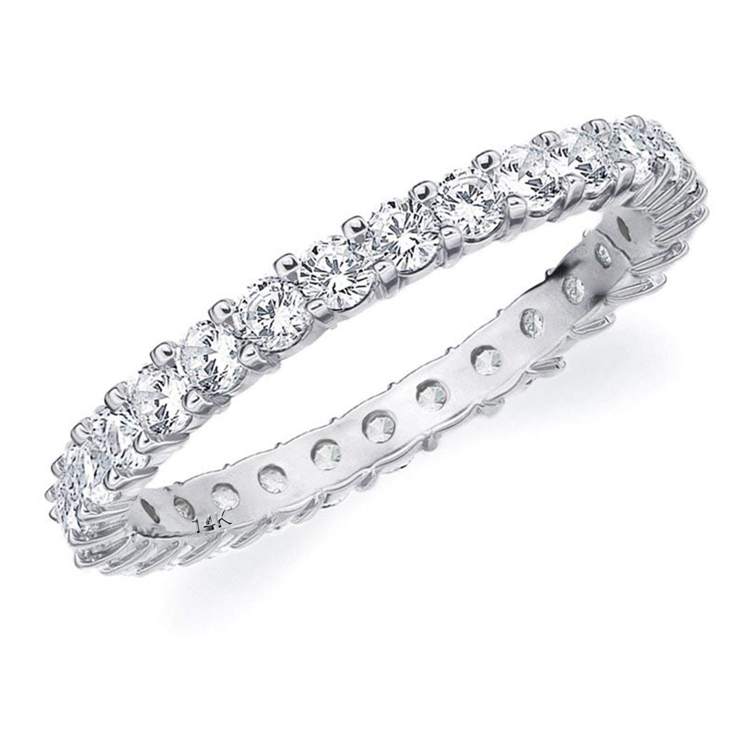 1CT Passion Eternity Diamond Ring in 14K White Gold Shared Prong Setting - Finger Size 6.75