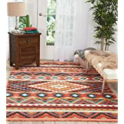 Nourison Tribal Decor TRL04 Traditional Colorful Orange Area Rug 3 Feet 11 Inches by 6 Feet 2 Inches, 3'11 X6'2'