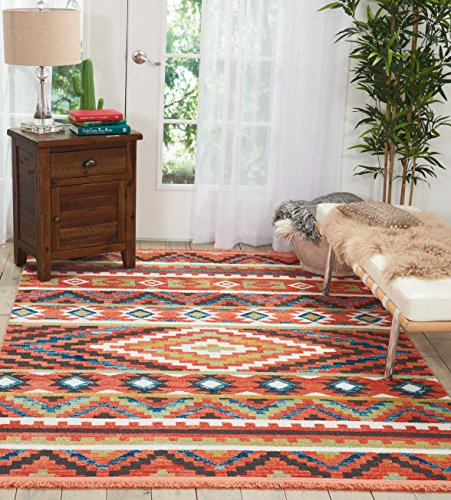 Nourison Tribal Decor TRL04 Traditional Colorful Orange Area Rug 5 Feet 3 Inches by 7 Feet 6 Inches, 5'3