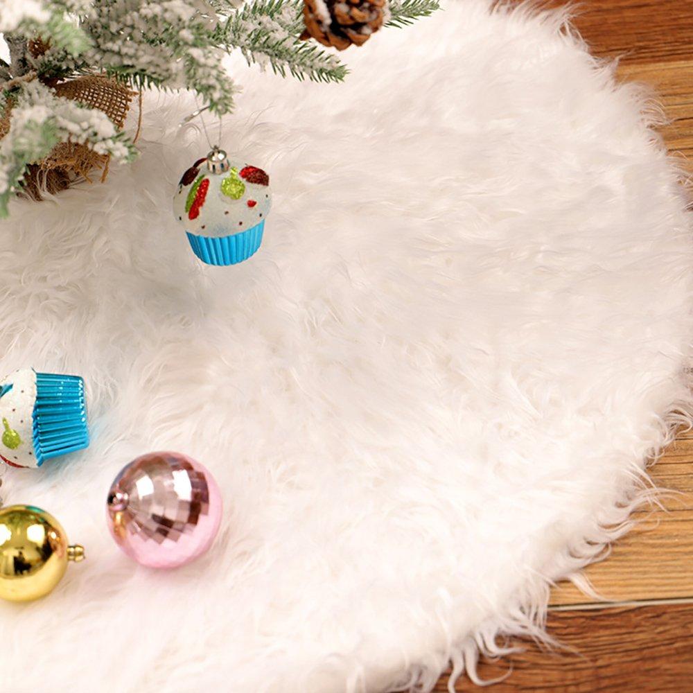 Kenmont Christmas Tree Skirt White Faux Fur Rim Xmas Tree Skirt Holiday Decorations 30/35/48 Inch (30Inch)