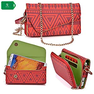 Alcatel One Touch Pop C9 | Ladies smartphone holder plus wallet w/ crossbody chain| red design|universal