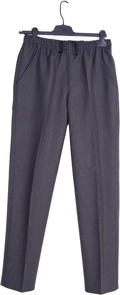 Pantalon Adaptado Hombre Invierno Pantalon Vestir Con Goma En La Cintura Tallas Grandes Color Gris Marino Verde Marron Amazon Es Ropa Y Accesorios