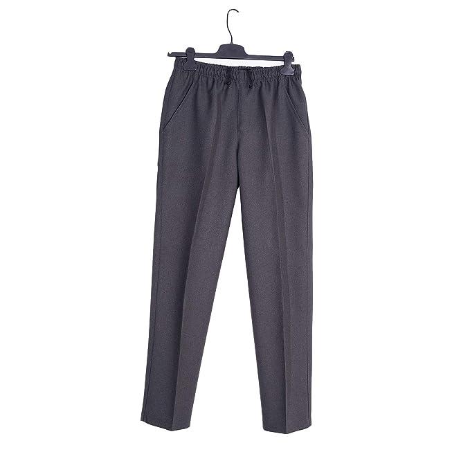 Pantalón Adaptado Hombre Color Gris/Marino - Invierno - Pantalon Vestir con Goma en la Cintura - Tallas Grandes