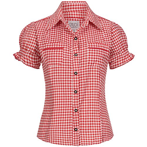 Gaudi-leathers Womens Shirt Mala Red Checkered Size 34 -