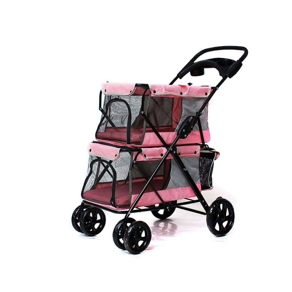 B Pet Stroller Dog Double Layer Car Light and Easy to Carry Sunscreen Breathable Comfort Daily Necessities (color   B)
