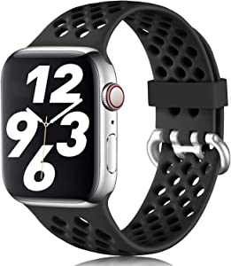 LEOMARON Sport Band Compatible with Apple Watch 38mm 40mm,S/M, Breathable Silicone Sport Band Compatible for iWatch Series 6/SE 5 4 3 2 1,Black