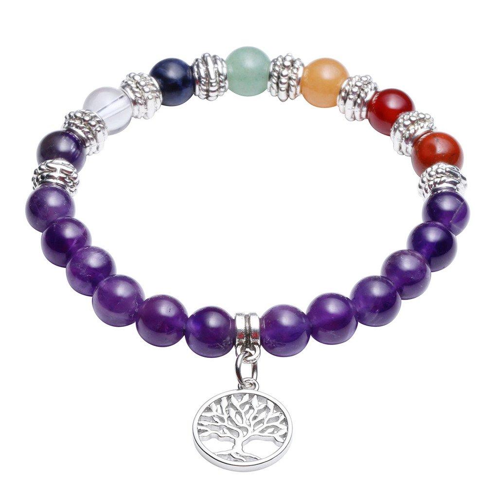 JOVIVI Stein Armband Energietherapie Yoga-Armband Lotus/Baum des Lebens/OM Symbol Anhänger 7 Chakra Balance Armreif(Amethyst-Baum des Lebens)