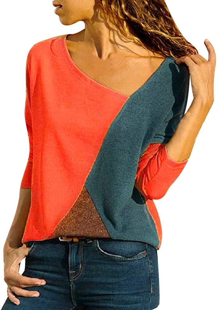 Mujer Polyester Ajustado Blusa Moda Patchwork Casual para Mujer Color Block O-Neck Manga Larga Camiseta Tops Otoño e Invierno Tallas Grandes riou: Amazon.es: Ropa y accesorios
