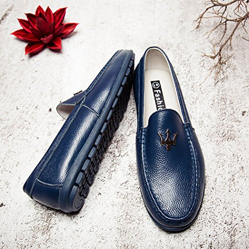 Qianling Collection Mocasines Para Hombre Casual Slip Ons Mocassin Driving Office Work Zapatos Escolares Soft Leather Flats Blue