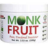 NAMANNA 100% Monk Fruit Sweetener - Zero Calorie, Zero Carb, Paleo Safe - (7% Mogroside V, 100g, 555 Servings)