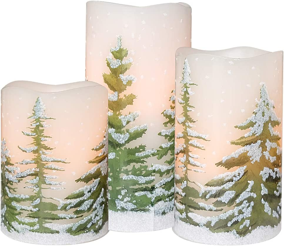 Eldnacele Green Tree Christmas Deco Flameless Flickering Candles with Automatical Daily Timers, Battery Operated LED Candles Real Wax Decals Pack 3 Tiered Pillars 3 x 4 5 6 Inches