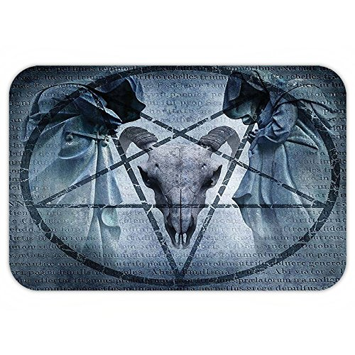 VROSELV Custom Door MatHorror House Decor Artwork with Pentagram Icon Goat Skull Devil Dream Hoody Figure Exorcist Image (Halloween Costume Exorcist Girl)