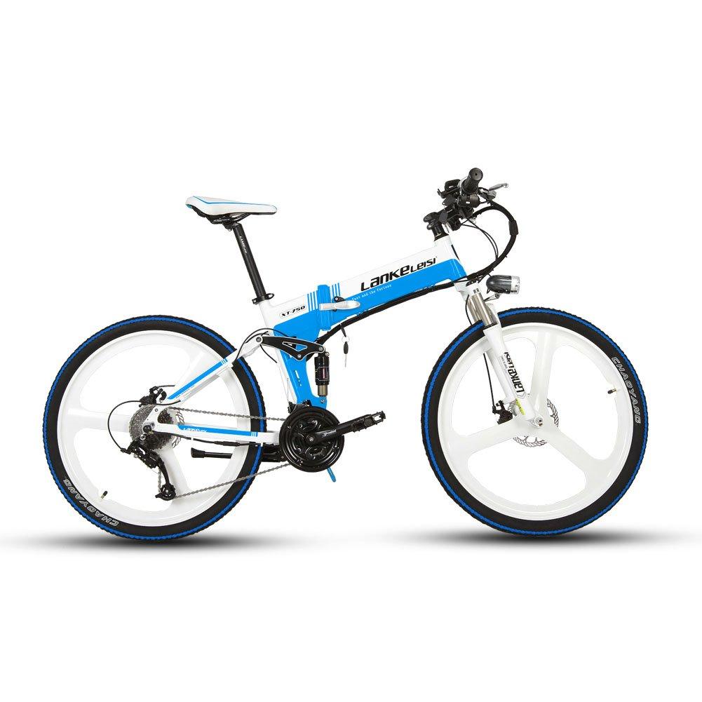 Extrbici XT750 折りたたみ自転車 27段変速 自転車 マウンテンバイク 26インチ アルミフレーム ディスクブレーキ 泥除け付き アップグレード 新品セール B074WQ4W1Q ホワイトブルー ホワイトブルー