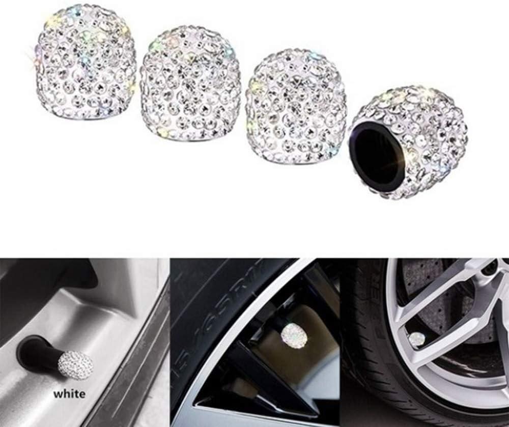 Auto Charme Zahnriemen Stem Diamond Shining Crystal Ventilkappe 4PCS Fahrrad Zubeh/ör f/ür Autos Luftabdeckung Radkappen White R/äder ENGL.