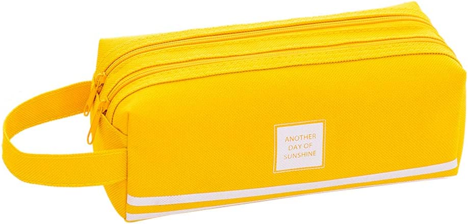 iSuperb Portable Pencil Case Large Capacity Dual Zipper Stationery Organizer Storage Pouch Pen Bag Compartments Cosmetic Bags for Office Women