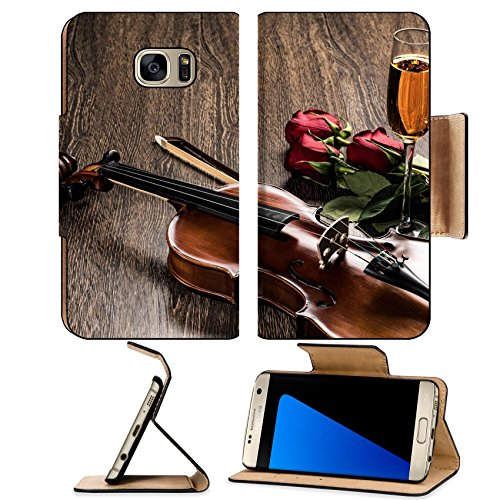 Flora Champagne - Luxlady Premium Samsung Galaxy S7 EDGE Flip Pu Leather Wallet Case IMAGE ID: 20281114 Violin rose glass of champagne and music books still life