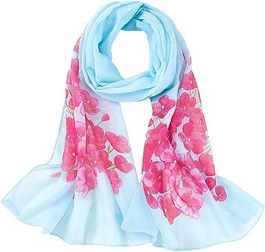 laine fine rose et bleu écharpe impression léopard Luxe Femme Nouveau pure