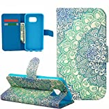 Galaxy S6 Case, S6 Wallet Case, Pandawell™ Unique Flower Pattern Wallet PU Leather Magnetic Closure Flip Stand Case Folio Cover with Credit Card Holder / Slot & Wrist Strap for Samsung Galaxy S6 + Screen Protector (Flower)