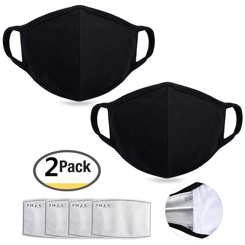 Anti Air Dust Masks and Smoke Pollution Mask - Reusable Washable Comfy - Anti Bacterial Activated Carbon N95 N99 PM2.5 Filters for Allergy for Women Man Black (2PCS black with 4 filter)