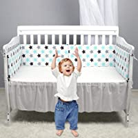 MOGOI Crib Bumper Pads, Safe Breathable Baby Crib Bumper Pads for Standard Cribs Machine Washable Padded Crib Liner for Boys Girls