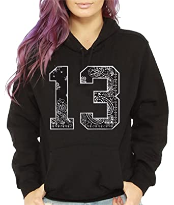 19394e9fb4 Women's # 13 Bandana Print Hoodie Hooded Sweatshirt Urban Wear Hip ...