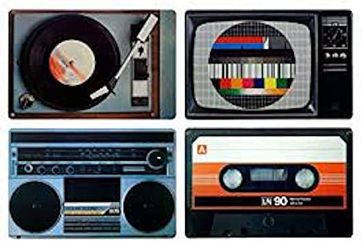 Juego de 4 unidades Retro Espacio bajo plato: Vintage Radio ...